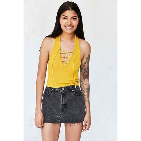 967a580fefcf35 Urban Outfitters Tops | Mustard Lace Up Halter Neck Crop Top | Poshmark